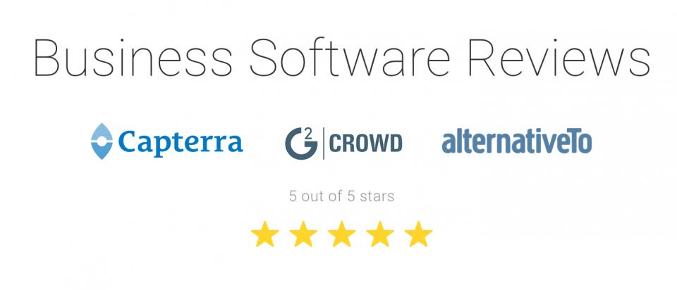5 star reviews by Capterra, G2 Crowd, and alternativeTo